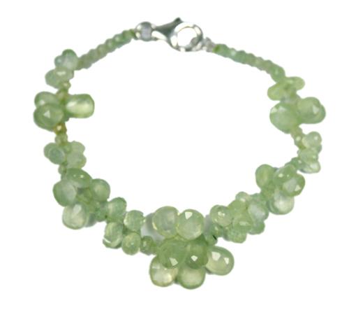 Design 7787: Green prehnite drop bracelets