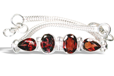 Design 783: red garnet contemporary bracelets
