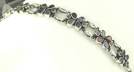 Design 8095: multi-color multi-stone flower bracelets
