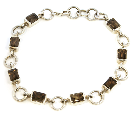 Design 8101: brown,gray smoky quartz bracelets