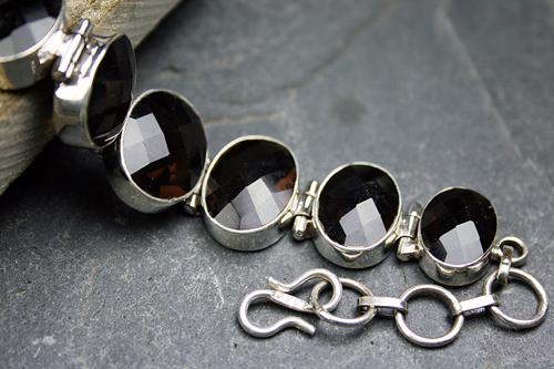 Design 8104: brown smoky quartz art-deco bracelets