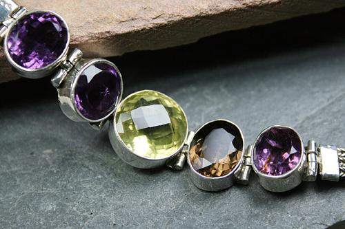Design 8110: brown,purple,yellow multi-stone bracelets