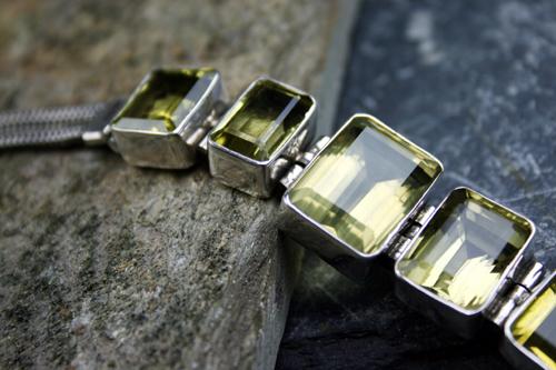 Design 8113: Yellow lemon quartz art-deco bracelets