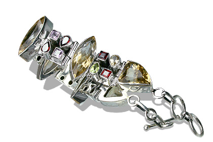Design 8114: red,yellow multi-stone chunky bracelets