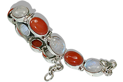 Design 8118: red,white moonstone bracelets