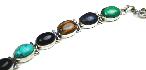 Design 8148: brown,green,multi-color multi-stone art-deco bracelets