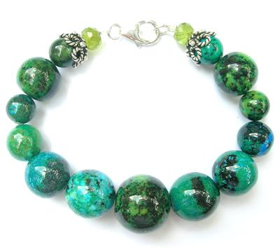 Design 8380: blue,green malachite chunky bracelets