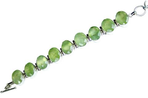 Design 8993: green prehnite art-deco bracelets
