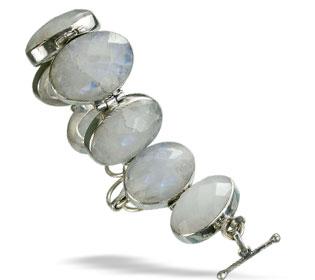 Design 8997: white moonstone art-deco bracelets
