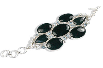 Design 9001: black,blue onyx art-deco bracelets