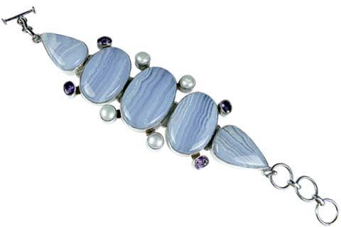 Design 9004: blue agate american-southwest, chunky bracelets