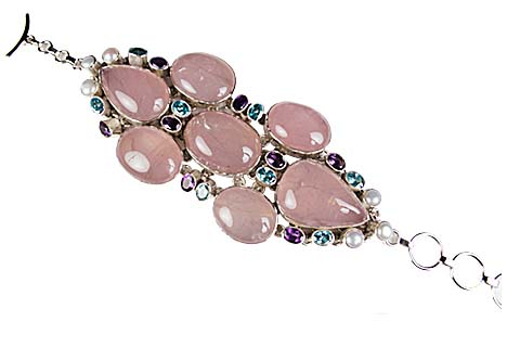 Design 9005: blue,pink,purple rose quartz art-deco bracelets