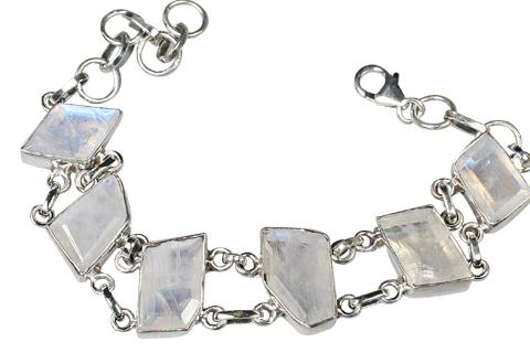 Design 9144: blue,white moonstone chunky bracelets
