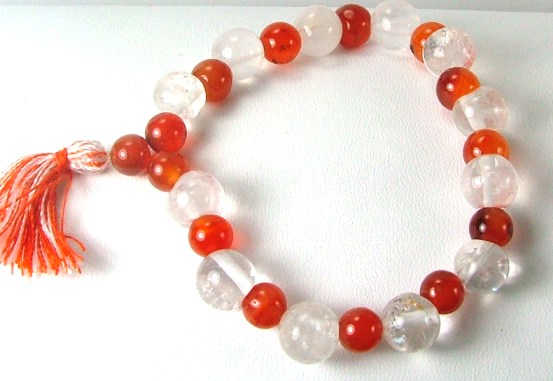 Design 927: orange,white carnelian stretch bracelets