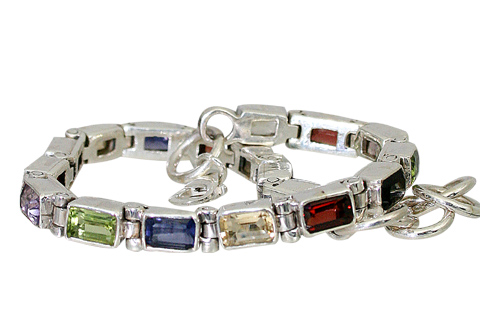 Multi Stone Garnet Tennis Color Gem Sterling Silver Bracelets 956