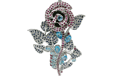 Design 11077: blue,pink,white sapphire pendant brooches