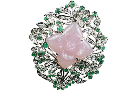 Design 11078: green,pink,white rose quartz pendant brooches