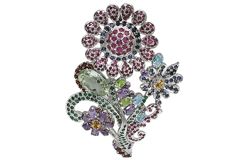 Design 11079: green,pink,purple multi-stone pendant brooches