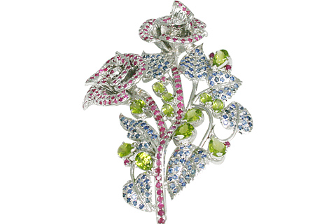 Design 11081: blue,green,pink multi-stone flower brooches