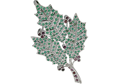 Design 11082: green,pink emerald leaf-vine brooches