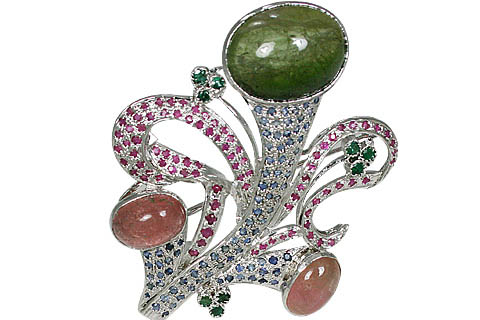 Design 11094: blue,green,pink multi-stone brooches