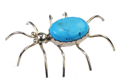 Design 9456: blue turquoise insect brooches