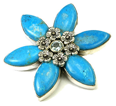 Design 9458: blue turquoise flower brooches