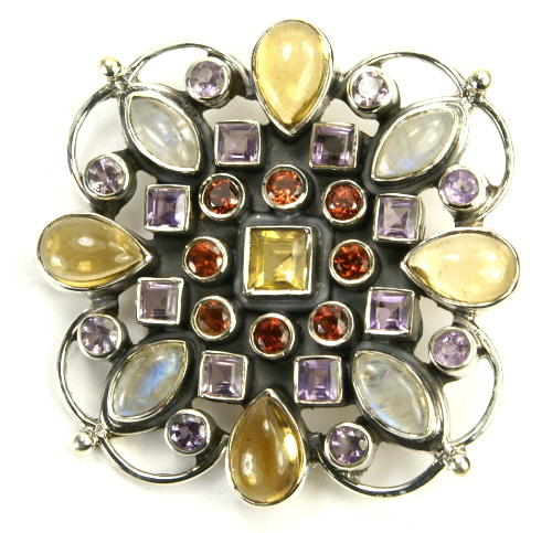 Design 9489: multi-color multi-stone flower brooches