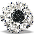 gemstone brooches in silver