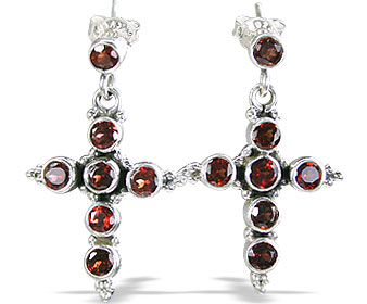 Design 1042: red garnet christian, crosses, post earrings