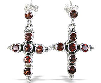 Design 1042: red garnet christian, crosses, post earrings