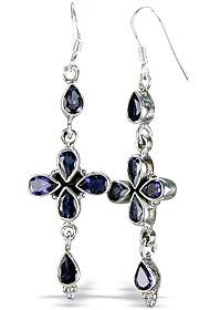 Design 1066: blue iolite drop, ethnic earrings