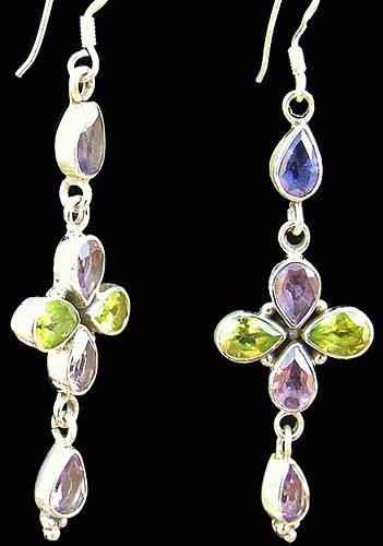 Design 1087: blue,green,purple multi-stone flower earrings