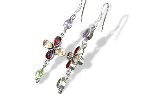 Design 1088: multi-color multi-stone flower earrings