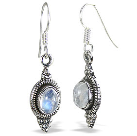 Design 11193: blue,white moonstone staff-picks earrings