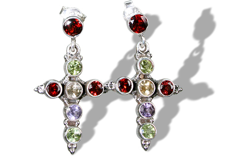 Design 1189: red,multi-color multi-stone christian, crosses, post, religious earrings