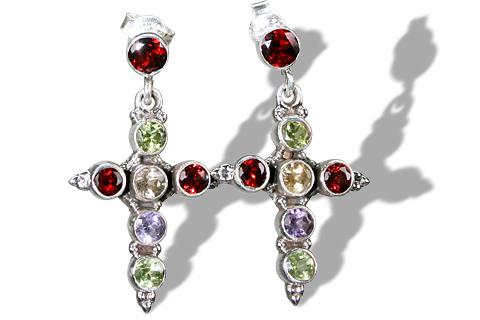 Design 1189: red,multi-color multi-stone christian, crosses, post, religious earrings