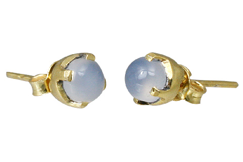 Design 1255: blue chalcedony post, stud, studs earrings