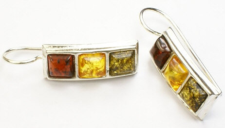 Design 12617: green,red,yellow amber art-deco earrings
