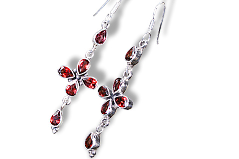 Design 1304: red garnet christian, crosses earrings