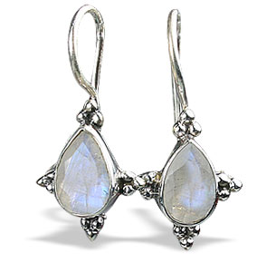 Design 13049: white moonstone drop earrings