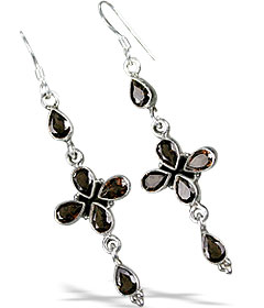 Design 13289: brown smoky quartz drop, ethnic earrings