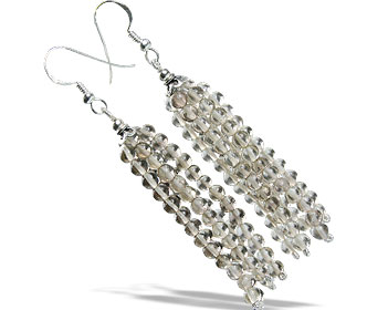 Design 13585: brown smoky quartz multistrand earrings