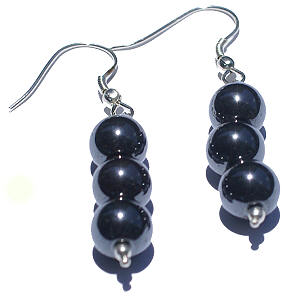 Design 1385: black hematite halloween earrings