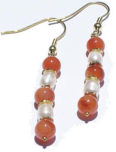Design 1386: orange,white carnelian earrings
