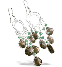 Design 13960: multi-color smoky quartz chandelier earrings