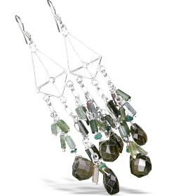 Design 13969: brown,multi-color smoky quartz chandelier earrings
