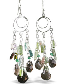 Design 13972: brown,multi-color smoky quartz chandelier earrings