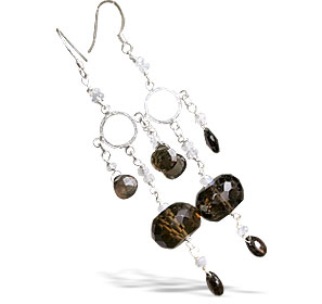 Design 13978: brown,white smoky quartz american-southwest earrings
