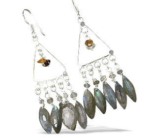 Design 13988: blue,green,gray labradorite chandelier earrings